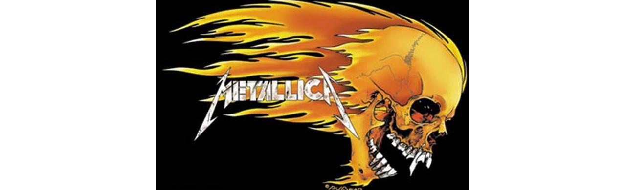 Metallica Skull & Flames Fabric Poster